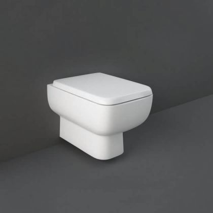RAK-Series 600 Rimless Wall Hung Toilet and Soft Close Seat   Commercial Washrooms