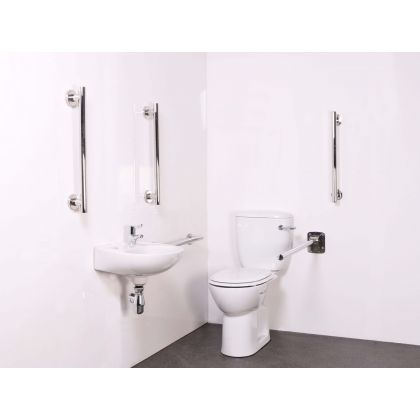 Luxury Close Coupled Doc M Toilet Pack (Polished Stainless Steel)