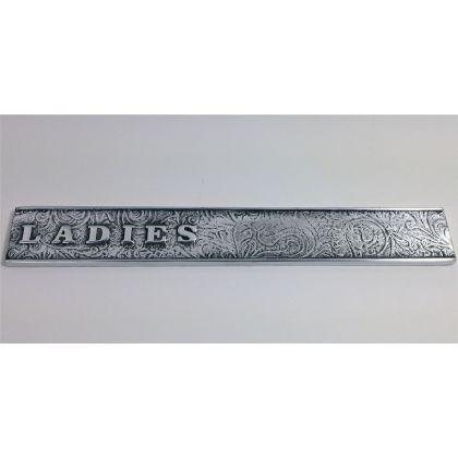 Philip Watts Design Vintage Style Toilet Door Signs - Female, Bright Polished Aluminium