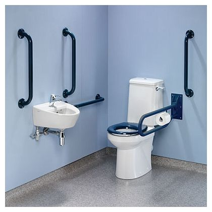 Twyford Close-coupled Doc-M pack with Blue, White or Grey Grab Rails and TMV3