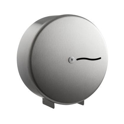 Brushed Stainless Steel Mini Jumbo Toilet Roll Dispenser | Commercial Washrooms