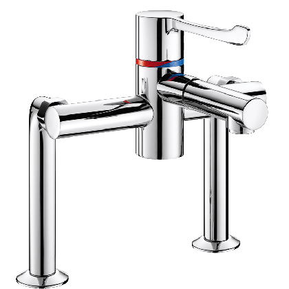 Delabie Securitherm BIOCLIP Pillar-mounted Thermostatic Sink Mixer Tap with Removable Spout | Commercial Washrooms