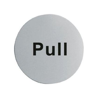Pull Door Sign - Satin Stainless Steel