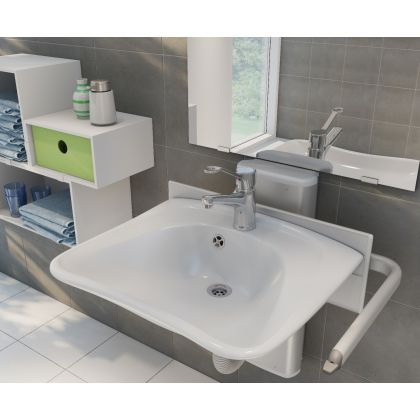 Pressalit PLUS Gas Assisted Height Adjustable Bracket with CURVE Wash Basin Pack   Commercial Washrooms
