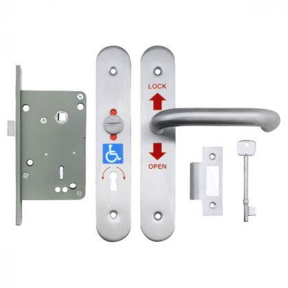 RADAR Disabled Door Lockset - Polished Aluminium - Right Hand