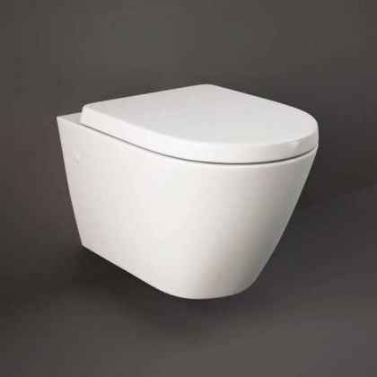 RAK-Resort Rimless Wall Hung Pan and Wrap Over Soft Close Seat | Commercial Washrooms