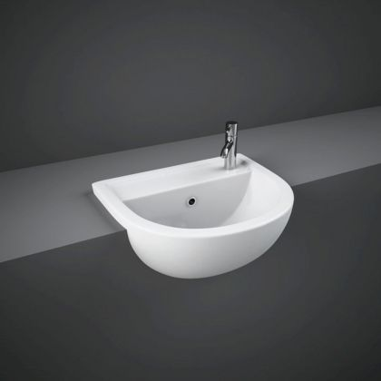 RAK-Compact 40cm Semi Recessed Basin Right Hand Taphole | Commercial Washrooms