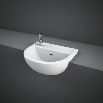 RAK-Compact 45cm Semi Recessed Basin with Left Hand Taphole | Commercial Washrooms