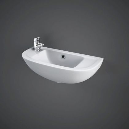 RAK-Compact 45cm Slim Line Basin with 1 Left Hand Taphole | Commercial Washrooms