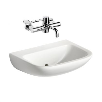 Armitage Shanks HTM64 Contour 21 (50cm) Back Outlet Wash Hand Basin Bundle