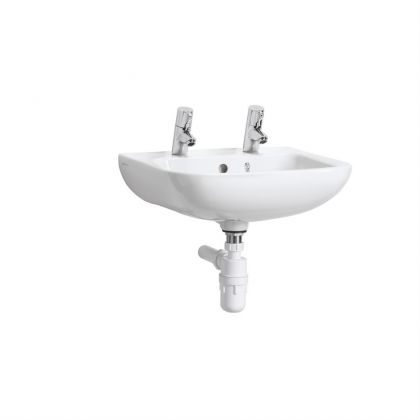 Armitage Shanks HTM64 Portman 21 40cm Washbasin - 2 tap holes with overflow and chainstay hole
