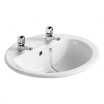 Armitage Shanks Orbit 21 55cm Countertop Washbasin – 2 Tap Holes, with Overflow and Chainstay Hole