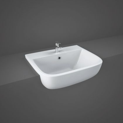 RAK-Series 600 52cm Semi Recessed Basin with 1 Tap Hole | Commercial Washrooms