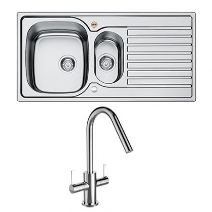 Bristan Inox 1.5 Bowl Steel Uni with Cashew tap | Commercial Washrooms