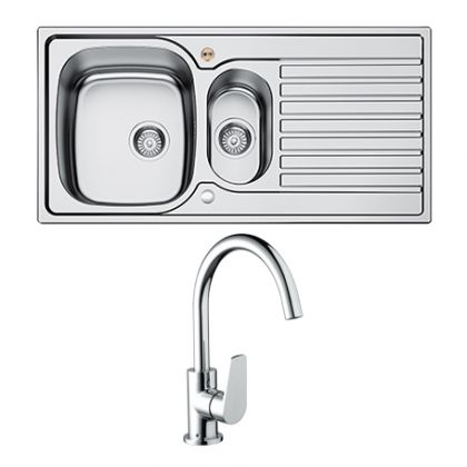 Bristan Inox 1.5 Bowl Steel Sink with Raspberry tap | Commercial Washrooms