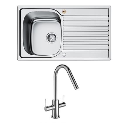 Bristan Inox 1.0 Bowl Steel Uni with Cashew tap | Commercial Washrooms