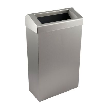 Slim Waste Bin with Chute Style Lid - Brushed Stainless Steel