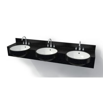 Semi-Recessed Solid Surface Vanity Top with Moulded Corian Basins
