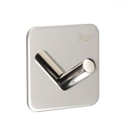 Single Coat Hook on 3M Adhesive Plate | Polished Stainless Steel