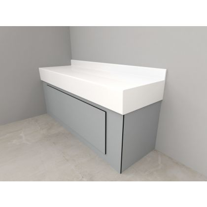 Ultra Fast Solid Surface Vanity Top and SGL Underframe White (UFVAN)