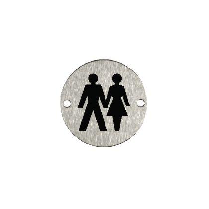 Unisex Toilet Sign - Stainless Steel