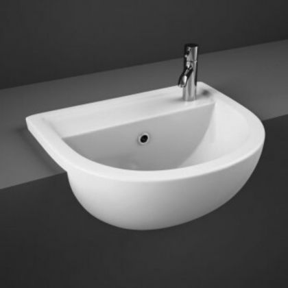 RAK-Compact 55cm Semi Recessed Basin with 1 Taphole | Commercial Washrooms