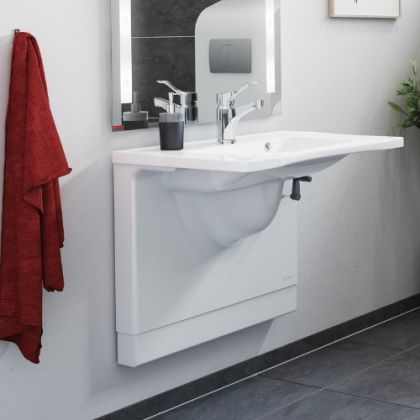 Pressalit Manual Height Adjustable Basin Bracket and Wash Basin Pack | Commercial Washrooms