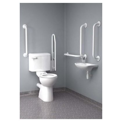 Inta Close Coupled Disabled Toilet Room Pack (Doc M Pack) with Blue or White grab Rails