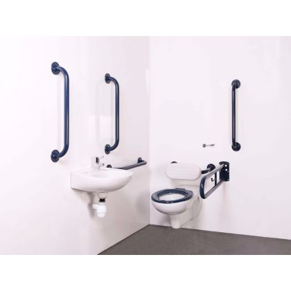Wall Hung Doc M Toilet Pack in a Variety of Grab Rail Colours