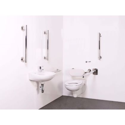 Wall Hung Doc M Toilet Pack with Delux Stainless Steel Grab Rails