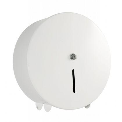 White Metal Jumbo Toilet Roll Dispenser