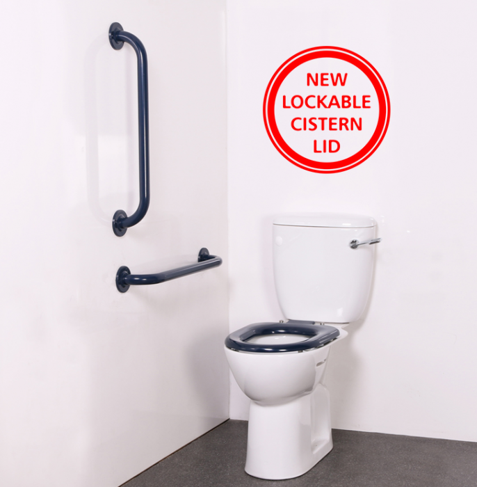 DISCONTINUED - Close Coupled Ambulant Disabled Toilet Pack with Dark Blue  Stainless Steel Grab Rails (Exposed Fixings)
