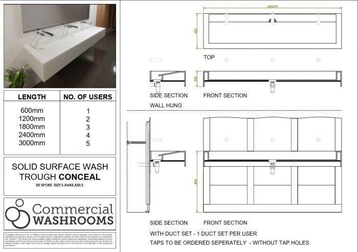 Conceal Corian Wash Trough Sanitaryware