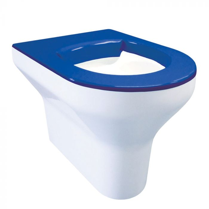 Admirable Dvs Back To Wall Vandal Resistant Toilet Pan With Blue Seat Pabps2019 Chair Design Images Pabps2019Com