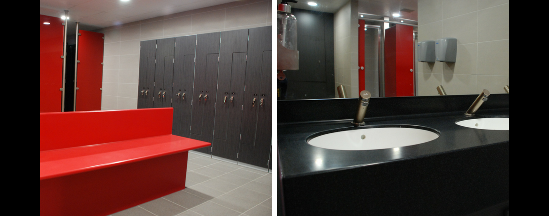 Changing room & shower refurbishment junction sports centre