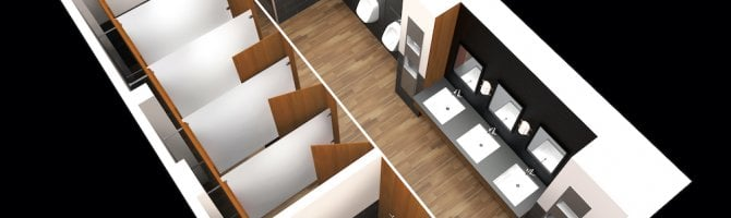 Washroom toilet cubicle configuration