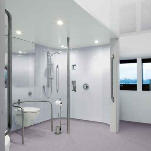 Adapted bathroom | Altro Whiterock Satins | Commercial Washrooms